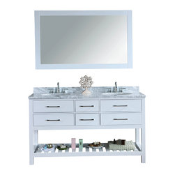 """Ari Kitchen and Bath - Manhattan 60"""" White Transitional Style Bathroom Vanity and Mirror - Beautiful transitional style bathroom vanity by Ari Kitchen and Bath, a new brand manufacturing quality bathroom decor at affordable prices."""