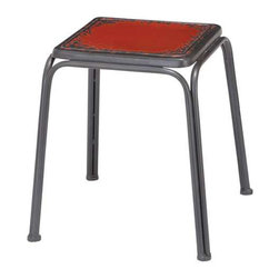 Retro Rustic Metal Stool - Rough around the edges but still so sweet, this stool gives you a quick and easygoing place to take a load off. Its bold red finish and distressed, tubular metal frame give it a kick of retro charm.