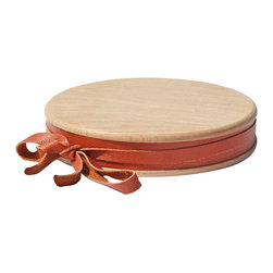 Amoretti Brothers - Amoretti Brothers Cutting Board with Leather, 15.7 - Wooden cutting board with leather trim.  It can also be used as cheese board. Available in three different sizes.