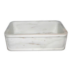 """N/A - Hand Carved Marble Farm House 34"""" Wide Single Bowl Kitchen Sink. - Hand Carved Marble Farm House 34"""" Single Bowl Kitchen Sink. Carved Detail In Front Apron."""