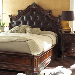 """Piedmont"" Bedroom Furniture - You'll feel like King of the Manor when retiring to the Piedmont bed, a stately bed with an oversized tufted-leather headboard.  Queen bed, 71""L x 92""W x 74""T.King bed, 87""L x 92""W x 74""T. California king bed, 87""L x 96""W x 74""T.Pricing is for Queen size."