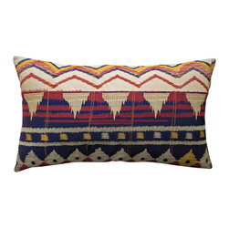 "KOKO - Java Pillow, 15"" x 27"" - It just doesn't get prettier than this pillow, so you may as well go all in with the tribal trend. The colors are so good together and that embroidered texture adds another beautiful dimension."