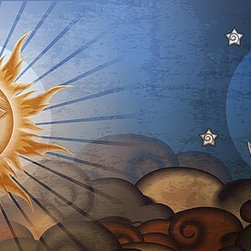 Magic Murals - Sun and Moon Fresco Panorama Wall Mural -- Self-Adhesive Wallpaper by MagicMural - In this grunge-style, conceptual panoramic done in the form of an imitation fresco, the sun and moon meet each other from across the rolling clouds below.