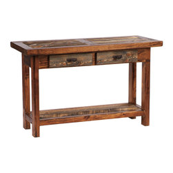 Mountain Woods Furniture - Rustic Four-Drawer Reclaimed Wood Sofa Table - This  rustic  reclaimed  wood  sofa  table  measures  72  inches  long  and  includes  four  dovetail  drawers  for  convenient  storage.  The  Wyoming  Series  Rustic  Furniture  is  handcrafted  from  natural  reclaimed  barnwood.  Eco-friendly  and  sure  to  please  with  its  rich  tan,  brown  or  rust  color  tones,  this  rustic  accent  table  will  give  you  a  way  to  highlight  the  beauty  of  your  free-standing  sofa  or  loveseat.                   Rustic  Sofa  Table              Dimensions:  72  long  x  20  wide  x  30  high              Four  dovetail-constructed  drawers  for  extra  storage  (image  shows  table  with  2  drawers)              Authentic  reclaimed  wood              Handcrafted  in  the  USA              Regionally  reclaimed  solid  wood              Natural  wood  color  and  patina              Ships  free  in  lower  48  states;  Curbside  delivery              Allow  4-6  weeks  for  shipping                      Rustic  Table  Drawer  Pull  Options                                                Bronze  Oval  Drawer  Pull                                  Aspen  Wood  Drawer  Pull                                                  Faux  Antler  Drawer  Pull                                  Tooled  Leather  Drawer  Pull