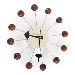 Kardiel - Kardiel George Nelson Style Walnut Ball Clock - The Walnut wood series Ball Clock is a sophisticated take on the original multi colored whimsical design. The calm feeling of natural wood is combined with the pop art style creating an interesting juxtaposition of funky pop art and elegant design.