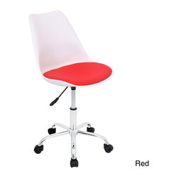 LumiSource - Petal Contemporary Office Chair - Update your office with the contemporary style of the petal office chair. In your choice of red,black or white,this chair features modern molded resin and a comfortable leatherette cushion.