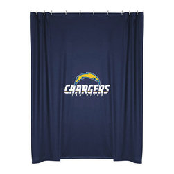 Sports Coverage - NFL San Diego Chargers Football Locker Room Shower Curtain - FEATURES: