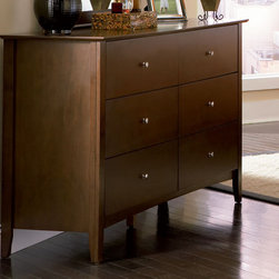 Coaster - Tamara 6 Drawer Dresser - The Tamara collection is crafted with solid wood and veneers, dove tail construction, metal runner. Walnut finish.