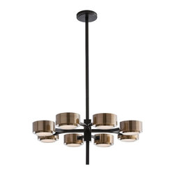 """Arteriors - Jalen Chandelier - We love the bronze and antique brass combination on this modern eight light chandelier that was inspired by the spokes on a wheel. Each of the four horizontal square rods split into two and support the antique brass shades. Each shade has a frosted glass bottom diffuser. Perfect over a dining table or kitchen island. Height is adjustable from 13"""" to 43"""". Takes eight 40 watt bulbs."""