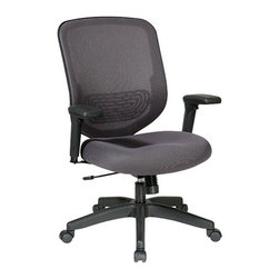 Office Star - Office Star Charcoal Mesh Seat and Back with Adjustable Arms, Adjustable Lumbar - Charcoal Mesh Seat and back with Adjustable Lumber Support