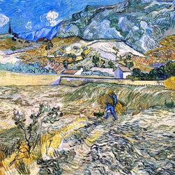 "Vincent Van Gogh Enclosed Field with Peasant Print - 16"" x 20"" Vincent Van Gogh Enclosed Field with Peasant (also known as Landscape at Saint-Remy) premium archival print reproduced to meet museum quality standards. Our museum quality archival prints are produced using high-precision print technology for a more accurate reproduction printed on high quality, heavyweight matte presentation paper with fade-resistant, archival inks. Our progressive business model allows us to offer works of art to you at the best wholesale pricing, significantly less than art gallery prices, affordable to all. This line of artwork is produced with extra white border space (if you choose to have it framed, for your framer to work with to frame properly or utilize a larger mat and/or frame).  We present a comprehensive collection of exceptional art reproductions byVincent Van Gogh."