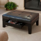 Chatham Leather Storage Ottoman - The versatile Chatham Leather Storage Ottoman provides a spot to prop your feet, sit down and put your shoes on, and store a variety of items. This rectangular ottoman features elegant tufting on the smooth, bonded leather upholstery, which is offered in your choice of colors. The durable hardwood legs have a blocky shape for a contemporary look. The ottoman's padded surface is ideal for a footrest, but it easily accommodates serving trays and other pieces. The spacious storage drawer keeps your magazines, remote controls, and other essentials within easy reach.