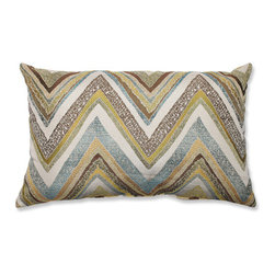 Pillow Perfect - Zig Zag Capri Blue and Yellow Rectangular Throw Pillow - - Knife Edge  - Sewn Seam Closure  - Care and Cleaning: Spot Clean Only  - Purpose: Indoor Pillow Perfect - 540542