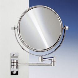 Windisch - Brass Wall Mounted Extendable Double Face 3x, 5x, 5op, or 7xop Magnifying Mirror - Double face magnifying mirror (one side regular, one side magnifying).