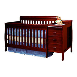 AFG Baby - AFG Baby Kimberly Convertible Crib & Changer in Cherry - A versatile concoction of the popular crib and changer, the Kimberly 3 in 1 Convertible Crib and Changer Combo combines both elements into one piece of furniture that serves as the perfect baby station for the space-conscious family. This beautiful and durable crib is made from solid pine hardwood and an easy-to-care non-toxic finish.   The crib features a 4-level adjustable-height mattress support which can be adjusted throughout your baby's growth. The traditional baby crib may be converted to a toddler bed with an included guardrail and may later in adulthood be changed to a full-size bed. Conversion rails sold separately.  The changing table dresser unit is attached to the crib in the early stages of your child's growth. Three drawers of storage and two shelves in the rear provide easy reach of baby necessities. Moreover, when the crib is converted to a full-size bed, the changing table unit detaches and serves as a separate nightstand/dresser. Changing padthroom ComponentsPHome Improvement/Bathroom Fixt