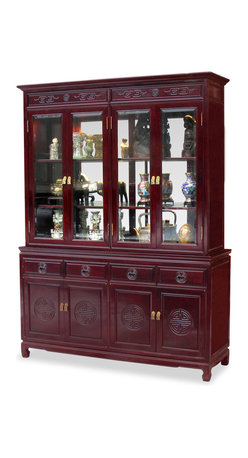 China Furniture and Arts - 60in Rosewood Longevity Motif China Cabinet - A grand curio cabinet to display your treasured collectibles. Hand-carved Longevity emblems decorated the entire cabinet. Made of solid rosewood with traditional joinery techniques by artisans in China. Mirror, halogen lights, and adjustable shelves for the upper cabinet. Two big cabinets with removable shelves inside and four drawers in the lower portion providing ample storage space for your convenience. Hand applied classic cherry finish enhances the extraordinary beauty and opulence of solid rosewood.