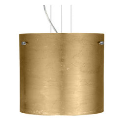 Besa Lighting - Besa Lighting 1KG-4184GF Tamburo 1 Light Cable-Hung Pendant - Tamburo is a classic open-ended cylinder of handcrafted glass, a shape that will stand the test of time. Our Gold Foil glass is sparkling and metallic. Distressed metal foil is applied to the inner surface of a glossy clear blown glass. This decor is full of textured and depth, however the outer surface of the glass is smooth. When lit the glass comes to life, as the distressed foil allows glimpses of light to pass through. This blown glass is handcrafted by a skilled artisan, utilizing century-old techniques passed down from generation to generation. Each piece of this decor has its own artistic nature that can be individually appreciated. The cable pendant fixture is equipped with three (3) 10' silver aircraft cables and 10' AWM cordset, and a low profile flat monopoint canopy.Features: