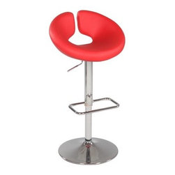 Chintaly Griffin Pneumatic Gas Lift Swivel Height Bar Stool - Chrome - Fire up the fun with the Chintaly Griffin Pneumatic Gas Lift Swivel Height Bar Stool - Chrome. The red bonded leather upholstery adds a bright, artistic touch to any room with its uniquely curved seat and backrest. Lightweight and durable, the steel frame is finished in a contemporary chrome finish. The stylish footrest, swivel action, and endless height adjustment add to the comfort of this stool.About Chintaly ImportsBased in Farmingdale, New York, Chintaly Imports has been supplying the furniture industry with quality products since 1997. From its humble beginning with a small assortment of casual dining tables and chairs, Chintaly Imports has grown to become a full-range supplier of curios, computer desks, accent pieces, occasional table, barstools, pub sets, upholstery groups and bedroom sets. This assortment of products includes many high-styled contemporary and traditionally-styled items. Chintaly Imports takes pride in the fact that many of its products offer the innovative look, style, and quality which are offered with other suppliers at much higher prices. Currently, Chintaly Imports products appeal to a broad customer base which encompasses many single store operations along with numerous top 100 dealers. Chintaly Imports showrooms are located in High Point, North Carolina and Las Vegas, Nevada.