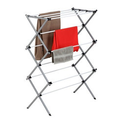Deluxe Metal Drying Rack; Ready To Assemble - Honey-Can-Do DRY-01306 Deluxe Knockdown Metal Drying Rack, white. This sleek steel drying rack is sturdy and rust-resistant. Unlike a wall-mounted unit, this portable rack can be used anywhere including the laundry room, balcony, porch, bathroom, or kitchen making an attractive drying space out of any room in your home. The space-saving unit offers 24-linear feet of drying area when fully assembled and folds down to 3-inches flat for easy storage when not in use. Save on energy costs while protecting the environment and increasing the life of your garments.