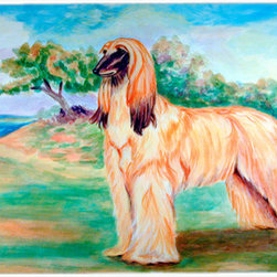 Caroline's Treasures - Afghan Hound Kitchen or Bath Mat 24x36 - Kitchen or Bath COMFORT FLOOR MAT This mat is 24 inch by 36 inch.  Comfort Mat / Carpet / Rug that is Made and Printed in the USA. A foam cushion is attached to the bottom of the mat for comfort when standing. The mat has been permenantly dyed for moderate traffic. Durable and fade resistant. The back of the mat is rubber backed to keep the mat from slipping on a smooth floor. Use pressure and water from garden hose or power washer to clean the mat.  Vacuuming only with the hard wood floor setting, as to not pull up the knap of the felt.   Avoid soap or cleaner that produces suds when cleaning.  It will be difficult to get the suds out of the mat.