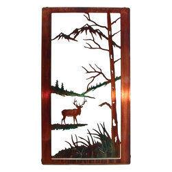 "Lazart - Elk Nature Wildlife Metal Wall Art - Elk Nature Wildlife Metal Wall Art. Beautifully self framed, this elk wildlife metal wall art is one of a collection of designs depicting wildlife in their natural habitat. Here we see an elk in an alpine meadow, head at the alert as he grazes. The color wash finish has been carefully hand painted for a natural affect while the copious white space best defines the beauty of the landscape. A honey pinion toned frame exudes glorious golden tones when struck by light, adding even more to the overall design. Measures 20""W."