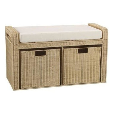Household Essentials - Woven Rattan Storage Seat, Natural - Our Woven Rattan Storage Bench is durably constructed and has deep, built-in side handles for easy moving. The padded seat comfortably sits atop the durably designed rattan frame. Designed for an extra seating area in your living room, this natural rattan storage seat with a padded cushion and storage baskets holds any item and is the perfect solution for all your storage woes.