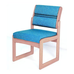 Wooden Mallet - Sled Base Armless Wood Office Chair in Solid - Fabric: Blue LeafA thick, solid oak frame accents this sturdy modular office chair, a perfect choice for accenting your reception area or lobby. The chair has an upholstered seat and back and is available in a wide range of color options, ensuring you'll find the right colors to suit your existing decor. Not available in fabric shown on image. Tasteful contemporary styling coordinates with any decor. 1 in. thick solid Oak frame. Extra thick seat and back cushions for comfort and durability. Assembly is a breeze with our unique slide brackets, no tools required. Made in the USA. Complies with California TB 117 fire code. 1-Year limited warranty. Seat: 16.5 in. D x 19.5 in. W x 14.5 in. H. Weight capacity: 400 lbs.. Total height: 19 in.Stylish, economical, and comfortable, Wooden Mallet's Dakota Wave Valley series armless chair is built to last. We've combined handsome solid Oak with deep, plush upholstery, to create office furniture that presents a warm welcome to your clients and guests.  Choose this chair as part of our complete Dakota Wave collection of coordinating lobby essentials.