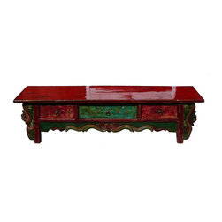 Golden Lotus - Chinese Three Drawers Floral Motif Low Altar Table Stand - This is a Chinese unique shape 3 drawers red and green color low altar table with floral painting and carving. You can also use it as a display stand or TV stand.