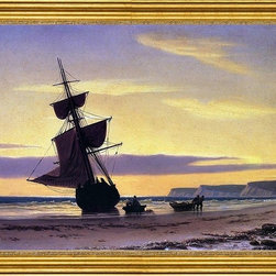 """William Bradford-16""""x24"""" Framed Canvas - 16"""" x 24"""" William Bradford Coastal Scene framed premium canvas print reproduced to meet museum quality standards. Our museum quality canvas prints are produced using high-precision print technology for a more accurate reproduction printed on high quality canvas with fade-resistant, archival inks. Our progressive business model allows us to offer works of art to you at the best wholesale pricing, significantly less than art gallery prices, affordable to all. This artwork is hand stretched onto wooden stretcher bars, then mounted into our 3"""" wide gold finish frame with black panel by one of our expert framers. Our framed canvas print comes with hardware, ready to hang on your wall.  We present a comprehensive collection of exceptional canvas art reproductions by William Bradford."""