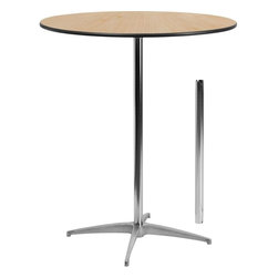 """Flash Furniture - 36"""" Round Wood Cocktail Table with 30"""" and 42"""" Columns - This versatile commercial grade Cocktail Table features a standard table height column and bar height column. The two column options allow you to optimize your resources when setting up different events. Enhance the look of the bar table configuration by adding a table cover and a loosely tied coordinating material. Table breaks down for easy transporting and organized storing. Cocktail tables can be used in banquet halls, conference centers, hotels, bars, clubs, training rooms, break rooms or any other social event."""