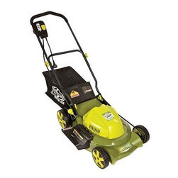 "Snow Joe - 3-in-1 Electric Lawn Mower 20"" - Sun Joe Mow Joe 20"" Bag/Mulch/Side Discharge Electric Lawn Mower for small to medium lawns, 12 amp motor, 1.75"" to 3.75"" cutting height, 7-position manual height adjustment, 15.06 gallon rear bag, 3-in-1 with side discharge, rear bag, and mulch.  Instant Start.  Safety switch prevents accidental starting.  7"" front wheels and 8"" rear wheels.  No gas, oil or tune-ups make it effortless to start.  Weight: 57 pounds.  ETL approved."