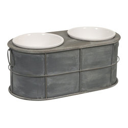 IMAX CORPORATION - Casoria Pet Feeder with Ceramic Bowls - Even Rover deserves a modern treat! Featuring an industrial metal style, the Casoria raised ceramic dog food bowls add a stylish look to any area. Find home furnishings, decor, and accessories from Posh Urban Furnishings. Beautiful, stylish furniture and decor that will brighten your home instantly. Shop modern, traditional, vintage, and world designs.
