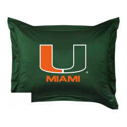 Sports Coverage - Sports Coverage Miami Hurricanes Locker Room Collection Pillow Sham - Show your team spirit with this officially licensed 25 x 31 Miami sham. There is a 2 flanged edge that decorates all four sides of each Miami NCAA sham. Made of 100% polyester jersey mesh, just like the players wear, with screen printed Miami U logo in the center. Envelope closure in back. Fits standard pillow. Coordinates with Miami Locker Room Collection. 3 overlapping envelope closure is on back.
