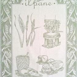 Tea Towel Pane Green - 9Tr Pane Green Tea Towel. Heavy luscious jacquard, woven in Italy. 100% Cotton. Wash in warm water, tumble dry.