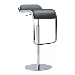 LaPalma - Lem Piston Barstool Black Leather - Our authentic Lem stool is designed by Shin and Tomoko Azumi, and Made in Italy by LaPalma. The popular LEM piston stool effortlessly blends sculptured form with convenient swivel and height adjustable functions. Its highly original shape offers an uncluttered atmosphere when several stools are grouped together.