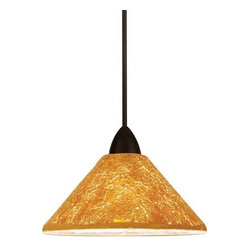 WAC Lighting - Micha LED Dark Bronze Mini Pendant with Gold Shade - -Gold Shade  -Whether a sparkling starlit sky, a warm summer�s sun or an early winter frost, Micha brings the comforting warmth of nature into your home with hand crafted crushed glass glimmering with light. WAC Lighting - MP-LED559-GL/DB