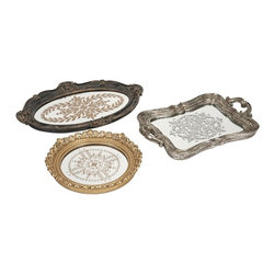 iMax - Hallet Trays, Set of 3 - These modern castings inspired by antique pewter tea trays, are a beautiful addition to a buffet or curio cabinet.