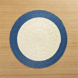 Tropic Palm Blue Trim Placemat - Colorful round with contrasting rim is handmade from natural palm fibers and sealed with a wax finish for easy cleanup.