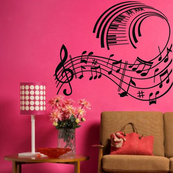 ColorfulHall Co., LTD - Big Music Notes and Piano Wall Art Music Wall Decals - Big Music Notes and Piano Wall Art Music Wall Decals