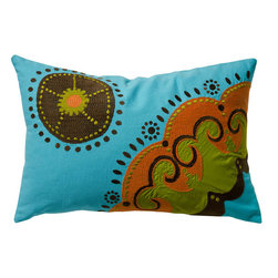 """KOKO - Coptic Pillow, Blue, 13"""" x 20"""" - Fall in love with the texture and exuberant colors of this pillow. The embroidery and applique work adds another special dimension. This would be a centerpiece of an eclectic living room or bedroom."""