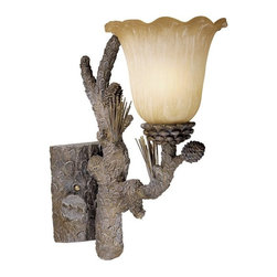 Vaxcel Lighting - Vaxcel Lighting Aspen Traditional Wall Sconce X-TP100ULV-SA - Bring a little of the outdoors into your home with this Vaxcel Lighting Aspen Traditional Wall Sconce. It features a frame with realistic pine cones and branches and a brushed amber glass shade. It's a wonderful piece that's perfect for a space with casual, rustic interiors, and one that will surely stand out in any room.