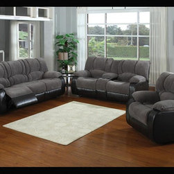 AC Pacific - Jagger Dual Reclining Sofa, Loveseat and Chai - Set includes sofa, loveseat and chair. Upholstered in 100% Polyester, Grey color and Black Polyurethane. Seating Comfort: Medium. Seat Cushions attached. Back Cushions attached. Seating has heavy duty no sag springs with high density foam and Dacron fiber for added comfort. Our reinforced frames are built with selected hardwoods, glued and corner blocked for extra durability.  All of our reclining mechanisims are built on a heavy duty steel rail system to give you years of trouble free use.. Assembly Required. Sofa: 84 in. L x 39 in. D x 40 in. H (233 lbs.). Loveseat: 74 in. L x 39 in. D x 40 in. H (211 lbs.). Chair: 38 in. L x 39 in. D x 40 in. H (117 lbs.)This sofa features a two tone grey and black transitional style with dual recliners.  This Sofa is a crowd pleaser and can add to any decor in its surroundings.