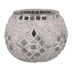 Art-Win Lighting CH11010 Handmade Mosaic Candle Holder, White - Handmade in Istanbul, Turkey. Hand-crafted item is produced with glass-on-glass technique. Tradition of centuries is now available for you. Fine handmade mosaic lamps that require years of experience and specialized craftsmanship are carefully manufactured by Art-Win Lighting.