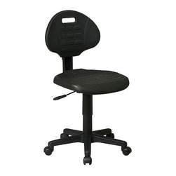 Office Star - Office Swivel Chair in Black Urethane w Seat - Achieve simple elegance with lasting comfort in this black self-skinned urethane office chair on five dual wheel casters.  The heavy duty nylon base supports this elegant office chair with seat depth adjustment, back height adjustment and pneumatic seat height adjustment for optimal comfort on long days, and short ones.  Contoured seat and back provide built in lumbar support. *  Contour Self-Skinned Urethane Seat and Back with Built-in Lumbar Support. One Touch Pneumatic Seat Height Adjustment.  Back Height Adjustment.  Seat Depth Adjustment.  Black Self-Skinned Urethane. Made of Urethane/Nylon. Heavy Duty Nylon Base with Dual Wheel Carpet Casters. Some assembly required. Back Dimension: 17 in. W x 13.25 in. H x 1 in. D. Seat Dimension: 18.5 in. W x 18 in. D x 1.5 in. H. Overall Dimension: 18.5 in. W x 22.5 in. L x 37.5 in. H. Specifications