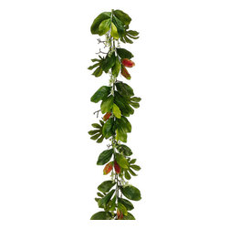 """Silk Plants Direct - Silk Plants Direct Fatsia, Magnolia and Eucalyptus Seed Garland (Pack of 2)"""" - Silk Plants Direct specializes in manufacturing, design and supply of the most life-like, premium quality artificial plants, trees, flowers, arrangements, topiaries and containers for home, office and commercial use. Our Fatsia, Magnolia and Eucalyptus Seed Garland includes the following:"""