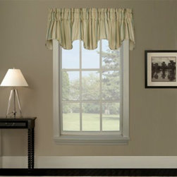 "A.l. Ellis Inc. - Harbor Valance - This scallop-shaped valance has beautifully appointed stripes in varying shades of taupe, chocolate, white and green. The valance has a 3"" rod pocket that fits a 2 1/2"" rod."