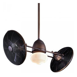 Minka-Aire - Minka-Aire Gyro 1-Light Oil Rubbed Bronze Dual Motor Ceiling Fan - F402-ORB - This 1-Light Dual Motor Ceiling Fan is part of the Gyro Collection and has an Oil Rubbed Bronze Finish. It is Wet Rated, and Outdoor Capable.