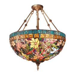 Dale Tiffany - Dale Tiffany Fixture Pendant Multicolor - TH60096 - Shop for Pendants from Hayneedle.com! We want to build a Victorian house around this gorgeous Tiffany Fixture Pendant just to give it a proper setting. An explosion of color radiates from the large inverted Tiffany-style bowl with intricate floral and berry patterns in every color of summer. Six strong handsome Antique Brass hanger arms have a satin glow in the light and meet at a sculpted base. The amber and aqua glass border on the shade might be our favorite part. This lamp requires three 100-watt medium base bulbs (not included) and is backed by a full one-year warranty.About Dale TiffanyFounded in 1979 Dale Tiffany Inc. started manufacturing Tiffany-styled lamps and shades emphasizing high-quality reproductions of Louis Comfort Tiffany's famous designs. Today using only the highest quality genuine hand-rolled art glass Dale Tiffany offers an extensive range of designs to create the world's foremost collection of fine art glass lighting and home accents. With this hand-crafted process no two pieces are exactly alike making each design a treasured keepsake. Dale Tiffany captures the timelessness of America's classic designers while developing unique designs that blend perfectly with today's home fashion trends and lifestyles.