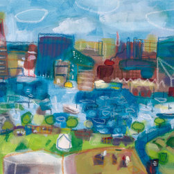 Baltimore's Inner Harbor Giclee - This is a 12x16 colorful museum quality giclee of an original acrylic painting inspired by the Harbor in Baltimore. I wanted to capture the feeling and the energy of the Harbor with all the activity of the boats and the buildings and the street vendors. Very bright and colorful and done in a loose conceptual style.