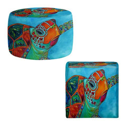 DiaNoche Designs - Seaglass Sea Turtle Ottoman - Lightweight, artistic, bean bag style ottomans. Coming in 2 square sizes and 1 round, you now have a unique place put rest your legs or tush after a long day. Artist print on all sides. Dye Sublimation printing adheres the ink to the material for long life and durability. Printed top, khaki colored bottom. Machine washable. Product may vary slightly from image.